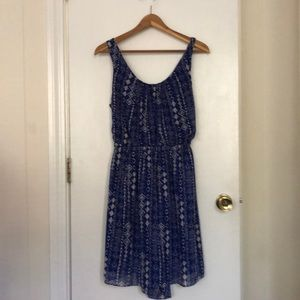 Royal blue patterned with cut out back dress